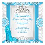 Quinceanera 15th Birthday Cinderella Blue Heel 13 Cm X 13 Cm Square Invitation Card