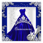 Quinceanera 15th Birthday Dark Blue Dress Gown Personalised Invites