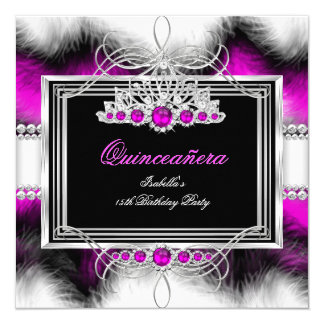Quinceanera 15th Birthday Feather Hot Pink Pearl 13 Cm X 13 Cm Square Invitation Card
