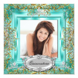 Quinceañera 15th Birthday Gold Teal Silver Tiara Personalised Announcement