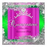 Quinceanera 15th Birthday Hot Pink Lime Tiara 13 Cm X 13 Cm Square Invitation Card