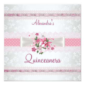 Quinceanera 15th Birthday Lace Pink White Floral 13 Cm X 13 Cm Square Invitation Card