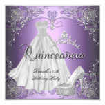 Quinceanera 15th Birthday Lilac Purple 13 Cm X 13 Cm Square Invitation Card