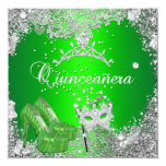 Quinceanera 15th Birthday Lime Silver Mask Tiara Personalized Invitations