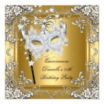 Quinceanera 15th Birthday Masquerade Mask Gold Custom Announcement