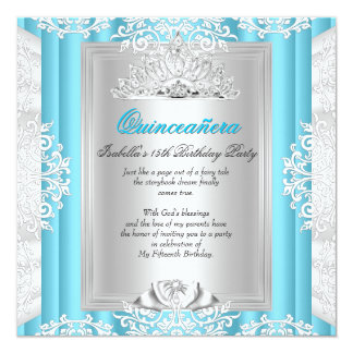 Quinceanera 15th Birthday Party Blue Lace Card