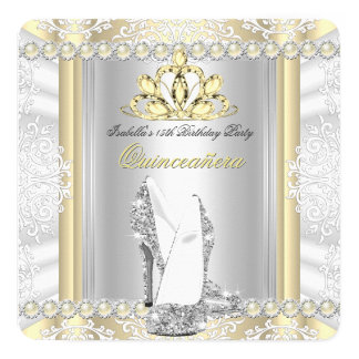 Quinceanera 15th Birthday Party Cream Gold Card