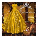 Quinceanera 15th Birthday Party Gold Dress 13 Cm X 13 Cm Square Invitation Card