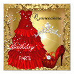 quinceanera 15th Birthday Party Gold Red Dress