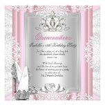 Quinceanera 15th Birthday Party Light Pink Shoes Personalised Announcements