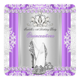 Quinceanera 15th Birthday Party Lilac Purple Heel Card