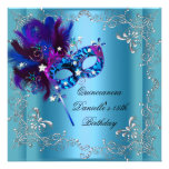 Quinceanera 15th Birthday Party Masquerade Blue Personalised Invitation