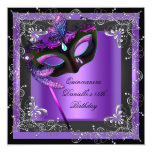 Quinceanera 15th Birthday Party Masquerade Purple Personalised Announcements