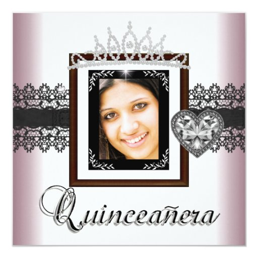 Quinceanera 15th Birthday Party Pink Black Lace 5 13 Cm X 13 Cm Square Invitation Card