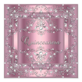 Quinceanera 15th Birthday Party Pink Pearl 13 Cm X 13 Cm Square Invitation Card