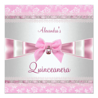 Quinceanera 15th Birthday Party Pink White Floral 13 Cm X 13 Cm Square Invitation Card