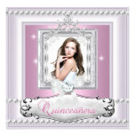 Quinceanera 15th Birthday Party Pink White Tiara Personalized Announcements