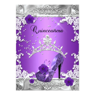 Quinceanera 15th Birthday Party Purple Silver Custom Invitations