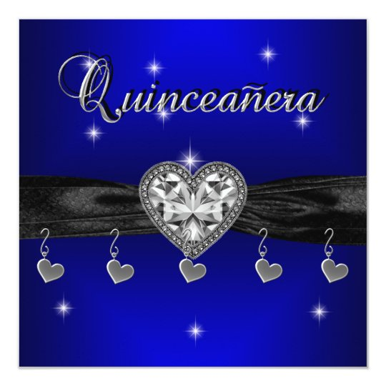 Quinceanera 15th Birthday Party Royal Blue Black 13 Cm X 13 Cm Square Invitation Card