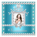 Quinceanera 15th Birthday Party Teal Blue Custom Invite