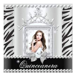 Quinceanera 15th Birthday Party Zebra Black White 13 Cm X 13 Cm Square Invitation Card