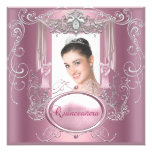 Quinceanera 15th Birthday Pink Silver Star Custom Invite