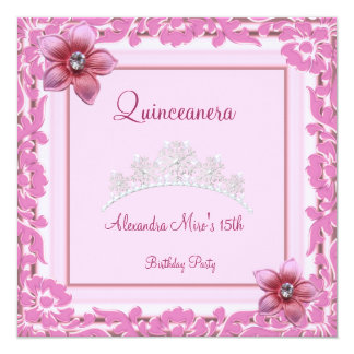 Quinceanera 15th Birthday Pretty Pink Floral White Card