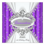 Quinceanera 15th Birthday Princess Purple Tiara Personalised Announcement