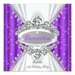 Quinceanera 15th Birthday Princess Purple Tiara Personalised Announcement