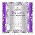 Quinceanera 15th Birthday Purple Silver Shoes 13 Cm X 13 Cm Square Invitation Card