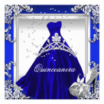 Quinceanera 15th Birthday Royal Blue Dress Gown Personalized Invitations