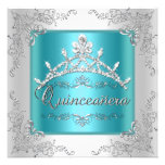 Quinceanera 15th Birthday Teal Blue Silver Tiara Personalized Announcements