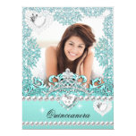 Quinceanera 15th Birthday Teal Blue Silver White Announcements