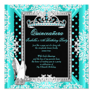 Quinceanera 15th Birthday Teal Blue Spots Black Card
