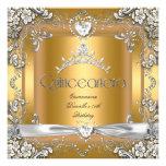 Quinceanera 15th Birthday Tiara Gold White Silver Custom Invite