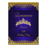 Quinceanera 15th Deep Blue Gold Diamond Tiara Personalized Announcements