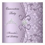 Quinceanera 15th Party Damask Lilac Jewel Image 13 Cm X 13 Cm Square Invitation Card