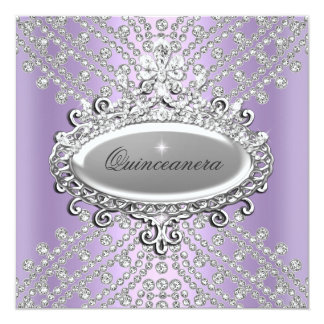 Quinceanera 15th Party Lilac Purple White Diamond 13 Cm X 13 Cm Square Invitation Card