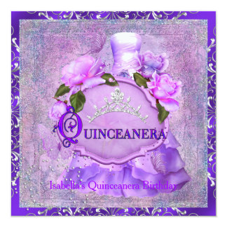 Quinceanera 15th Party Purple Rose Tiara Dress 3 Card