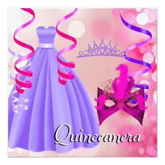 Quinceanera 15th Party Tiara Mask Purple Dress 13 Cm X 13 Cm Square Invitation Card
