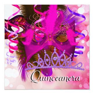 Quinceanera 15th Party Tiara Mask Purple Pink 13 Cm X 13 Cm Square Invitation Card