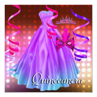 Quinceanera 15th Party Tiara Pink Dress Lights Card
