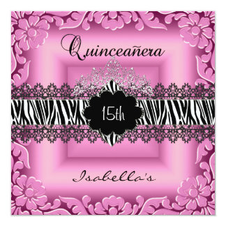 Quinceanera 15th Pink Black White Zebra Lace Card