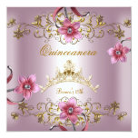 Quinceanera 15th Pink Flowers Gold Tiara 13 Cm X 13 Cm Square Invitation Card