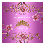 Quinceanera 15th Pink Flowers Gold Tiara Personalized Invite