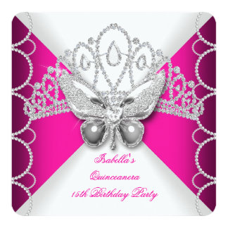 Quinceanera 15th Pink Lace Butterfly Pearl Party 13 Cm X 13 Cm Square Invitation Card