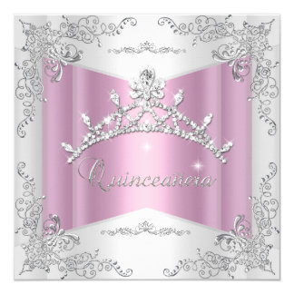 Quinceanera 15th Pink White Silver Tiara Card