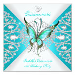 Quinceanera 15th Pretty Teal Blue Butterfly Tiara Personalized Announcement