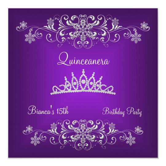 Quinceanera 15th Purple Black Diamond Tiara 13 Cm X 13 Cm Square Invitation Card