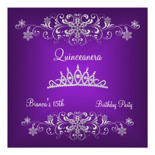 Quinceanera 15th Purple Black Diamond Tiara Custom Invite